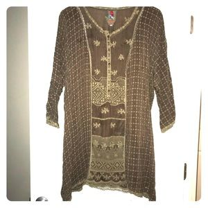Taupe Johnny Was Tunic